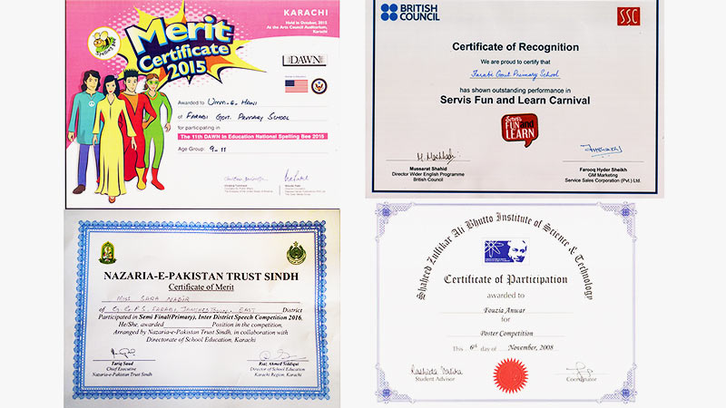 students achievement certificates